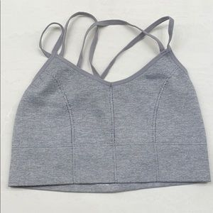 Small Strappy Gray Sports Bra Biker Pants Included